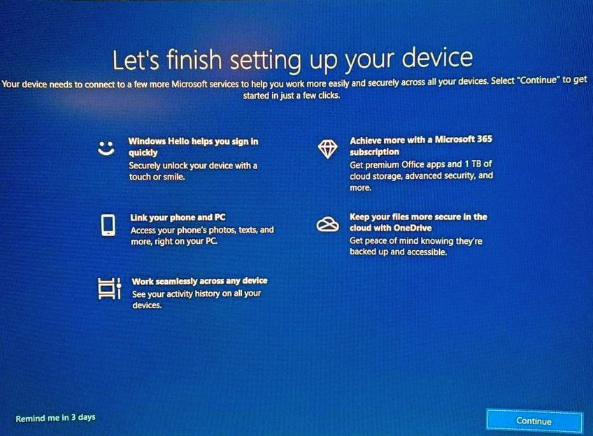 lets finish setting up your device message